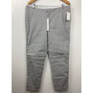 Caslon Chino Ankle Pants Navy Ivory Striped Cuffed